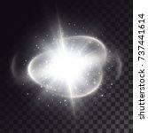 explosion of a white sprakling... | Shutterstock .eps vector #737441614