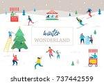 winter sport scene  christmas... | Shutterstock .eps vector #737442559