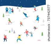 winter sport scene  christmas... | Shutterstock .eps vector #737442577