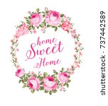 invitation card with floral... | Shutterstock .eps vector #737442589