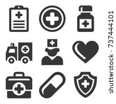 health care medical icons set.  | Shutterstock . vector #737444101