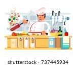 professional chef prepares in... | Shutterstock .eps vector #737445934
