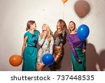 group of girls having a party  | Shutterstock . vector #737448535
