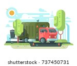 garbage truck collects garbage... | Shutterstock .eps vector #737450731