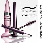 mascara and eyeliner cosmetics... | Shutterstock .eps vector #737451595