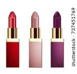 realistic lipstick cosmetics on ... | Shutterstock .eps vector #737451769