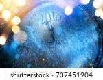 art 2018 happy new years eve... | Shutterstock . vector #737451904