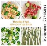 broccoli  shrimps  asparagus... | Shutterstock .eps vector #737452561