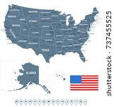 united states map and flag  ... | Shutterstock .eps vector #737455525