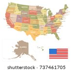 united states vintage map and... | Shutterstock .eps vector #737461705