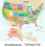 united states map   detailed... | Shutterstock .eps vector #737461735