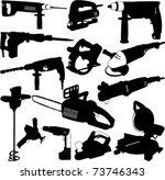 electric tools set   vector   Shutterstock .eps vector #73746343