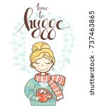 a sweet rosy dreaming girl with ... | Shutterstock .eps vector #737463865