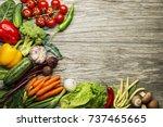 various fresh vegetables and... | Shutterstock . vector #737465665