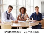 senior healthcare workers in a... | Shutterstock . vector #737467531