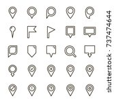 pin icon set. collection of...
