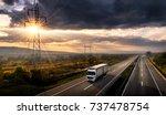highway transportation with... | Shutterstock . vector #737478754
