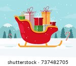 santa sleigh with christmas... | Shutterstock .eps vector #737482705