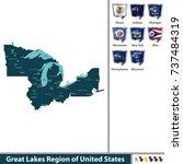 vector set of great lakes... | Shutterstock .eps vector #737484319