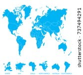 world map. europe asia america... | Shutterstock .eps vector #737494291