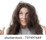 angry young woman having a bad... | Shutterstock . vector #737497669