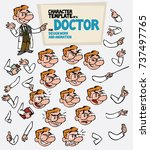 white doctor with glasses. face ... | Shutterstock .eps vector #737497765
