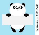 funny panda bear hanging on... | Shutterstock .eps vector #737510449
