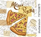 pizza illustration. fast food... | Shutterstock . vector #737510875