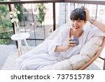 attractive girl in white summer ... | Shutterstock . vector #737515789