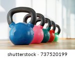 colorful kettlebells in a row... | Shutterstock . vector #737520199