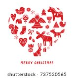 merry christmas background with ... | Shutterstock .eps vector #737520565