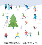winter sport scene  christmas... | Shutterstock .eps vector #737521771