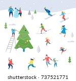 winter sport scene  christmas... | Shutterstock .eps vector #737521771