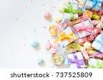 bright decor for birthday ... | Shutterstock . vector #737525809