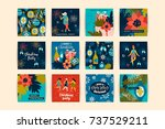 christmas cards with dancing... | Shutterstock .eps vector #737529211