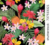 tropical flowers seamless... | Shutterstock .eps vector #737533321