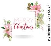 christmas winter poinsettia... | Shutterstock .eps vector #737533717