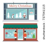 two stores set decorated to... | Shutterstock .eps vector #737541115