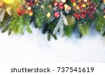 christmas snow background. | Shutterstock . vector #737541619