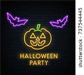 halloween. pumpkin. neon... | Shutterstock .eps vector #737544445