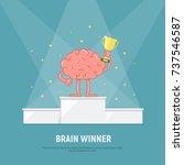 cartoon brain stands on the... | Shutterstock .eps vector #737546587