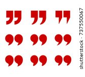 red quotes icon set. quotation... | Shutterstock .eps vector #737550067