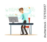cheerful theoretical physicist... | Shutterstock .eps vector #737553457