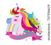 print unicorn girl with rainbow ...   Shutterstock .eps vector #737556619