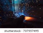 welder  craftsman  erecting... | Shutterstock . vector #737557495
