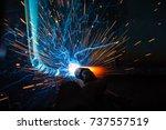 welder  craftsman  erecting... | Shutterstock . vector #737557519