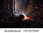 welder  craftsman  erecting... | Shutterstock . vector #737557549