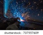 welder  craftsman  erecting... | Shutterstock . vector #737557609