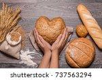 female hands holding heart... | Shutterstock . vector #737563294