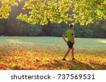 back view of a man doing...   Shutterstock . vector #737569531